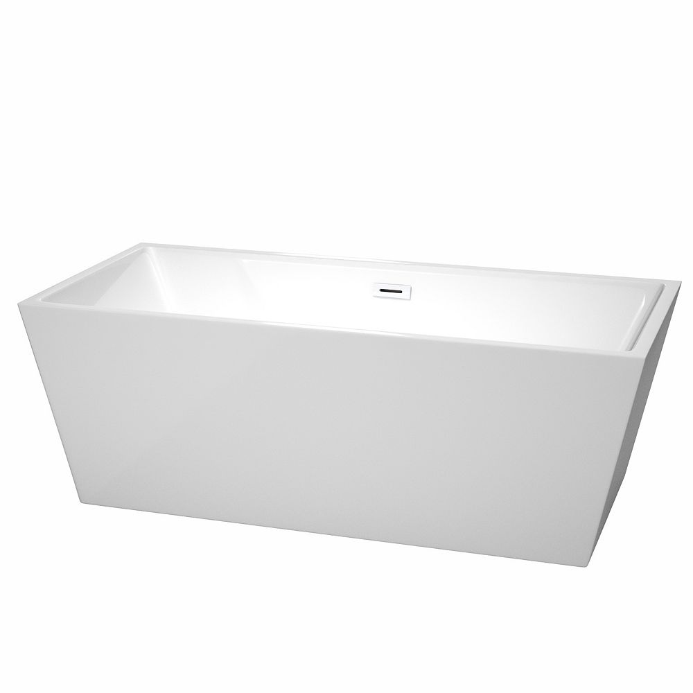 Wyndham Collection Sara 67 inch Freestanding Bathtub in White with Shiny White Drain and Overflow Trim