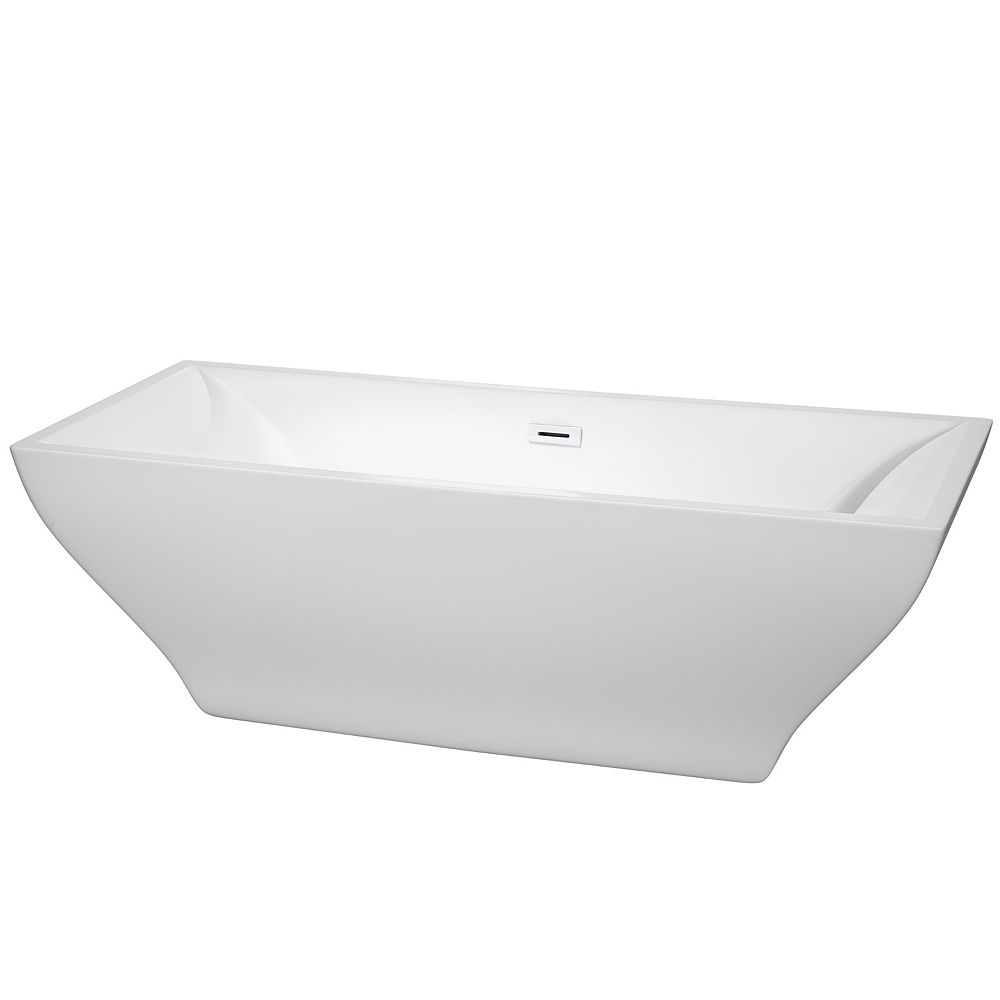 Wyndham Collection Maryam 71 inch Freestanding Bathtub in White with Shiny White Drain and Overflow Trim