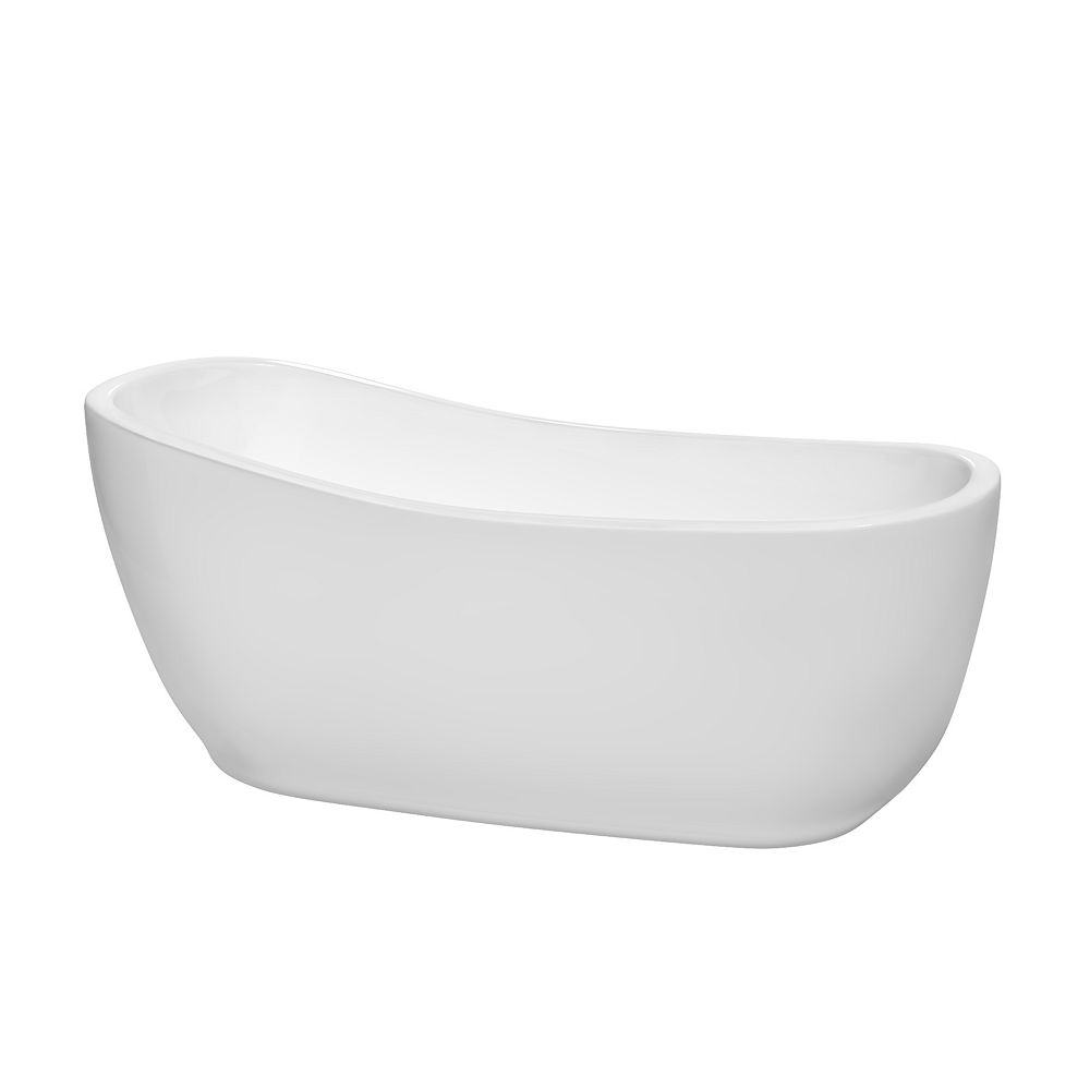 Wyndham Collection Margaret 66 inch Freestanding Bathtub in White with Shiny White Drain and Overflow Trim