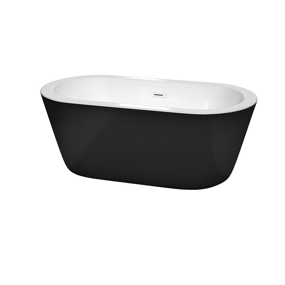 Wyndham Collection Mermaid 60 inch Freestanding Bathtub in Black with Shiny White Drain and Overflow Trim