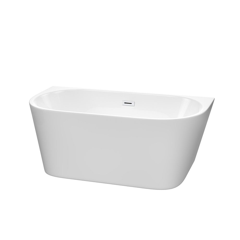 Wyndham Collection Callie 59 inch Freestanding Bathtub in White with Shiny White Drain and Overflow Trim
