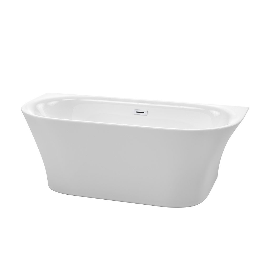 Wyndham Collection Cybill 67 inch Freestanding Bathtub in White with Shiny White Drain and Overflow Trim