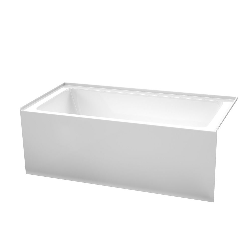 Wyndham Collection Grayley 60x30 inch Alcove Bathtub in White with Right-Hand Drain and Overflow Trim in Shiny White