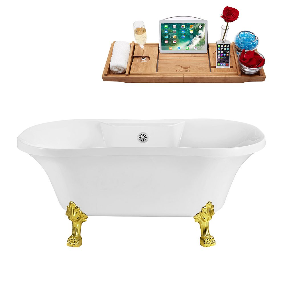 Streamline 60 inch Streamline N100GLD-WH Soaking Clawfoot Tub and Tray With External Drain