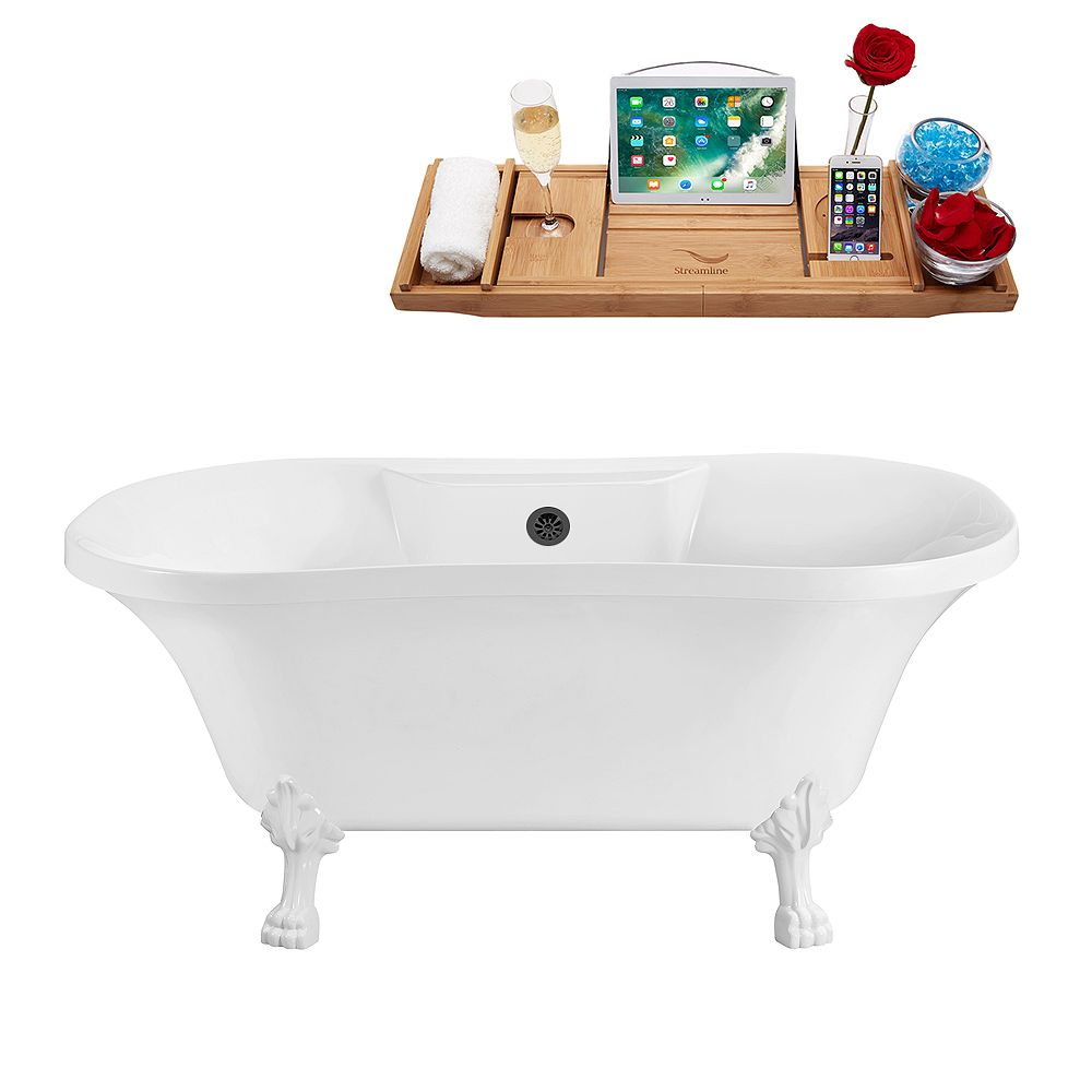 Streamline 60 inch Streamline N100WH-BL Soaking Clawfoot Tub and Tray With External Drain
