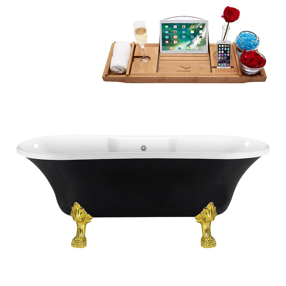 Streamline 68 inch Streamline N103GLD-WH Clawfoot Tub and Tray With External Drain