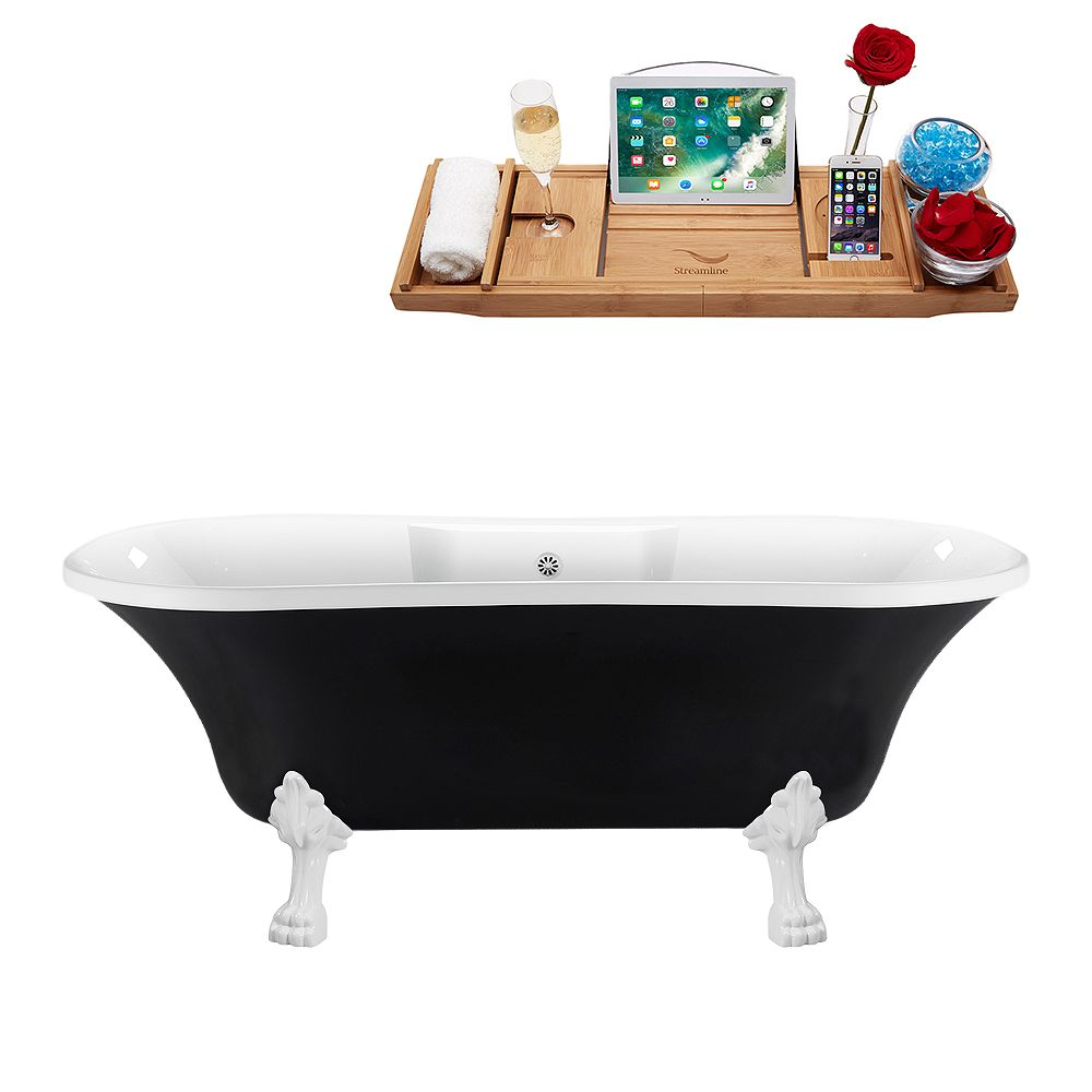 Streamline 68 inch Streamline N103WH-WH Clawfoot Tub and Tray With External Drain