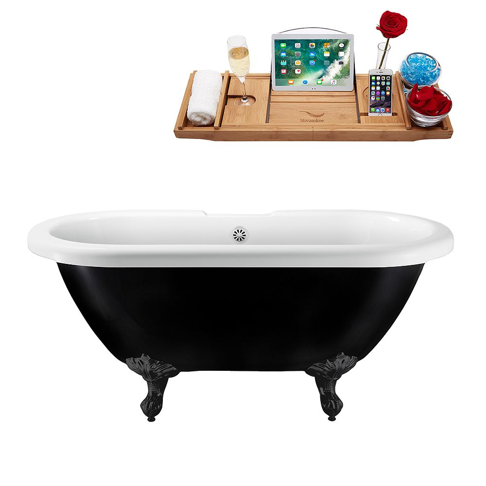 Streamline 59 inch Streamline N1120BL-WH Clawfoot Tub and Tray With External Drain