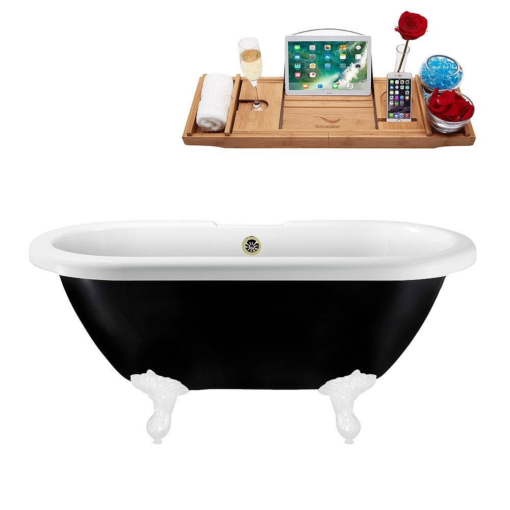 Streamline 59 inch Streamline N1120WH-BNK Clawfoot Tub and Tray With External Drain