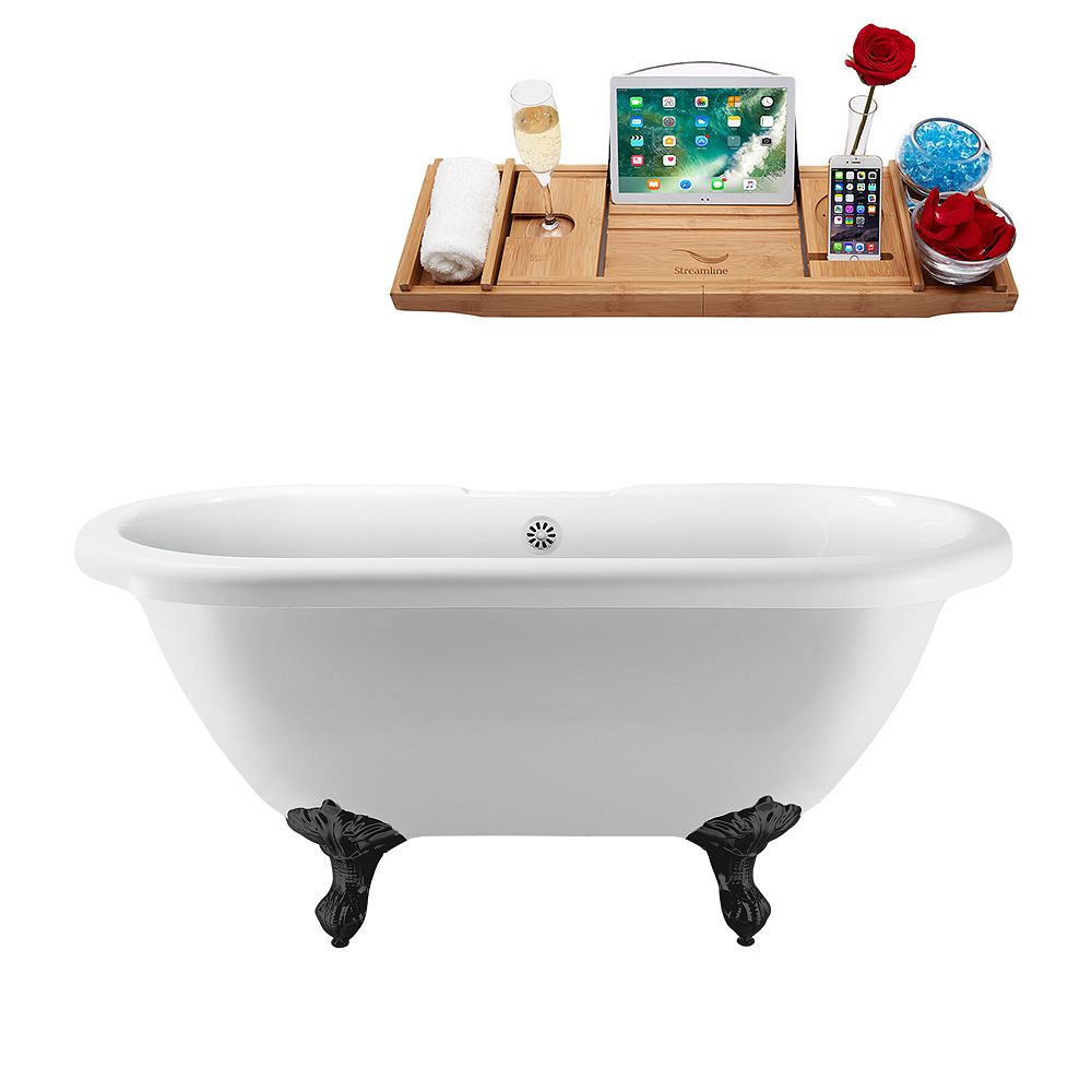 Streamline 67 inch Streamline N1121BL-WH Clawfoot Tub and Tray With External Drain