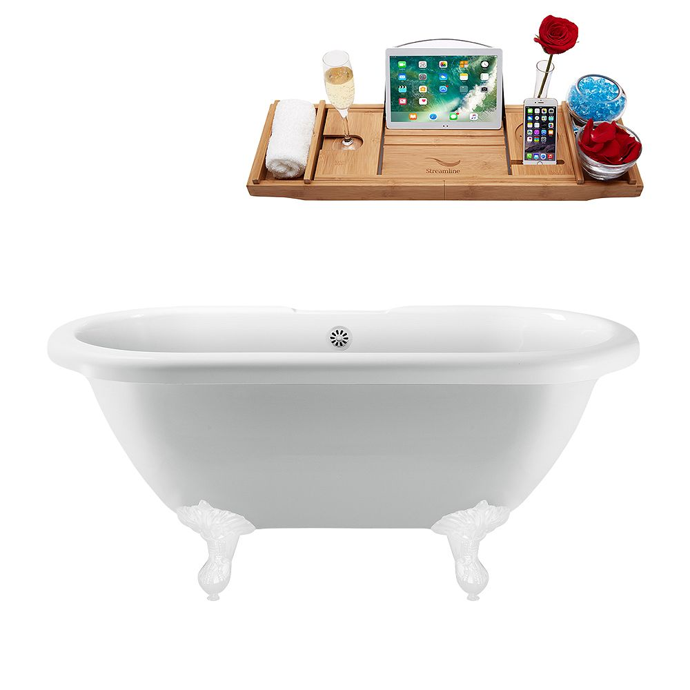 Streamline 67 inch Streamline N1121WH-WH Clawfoot Tub and Tray With External Drain