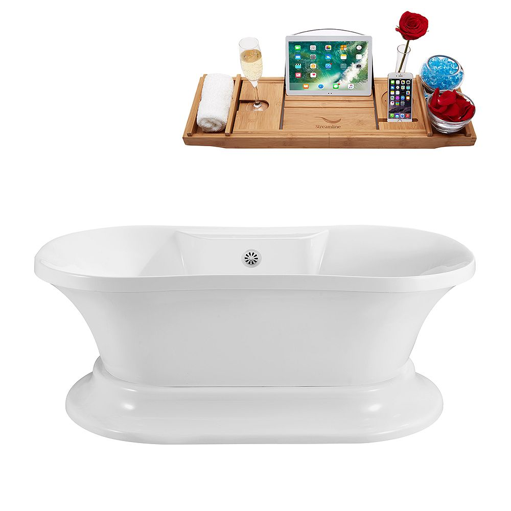 Streamline 60 inch Streamline N180WH Soaking Freestanding Tub and Tray With External Drain