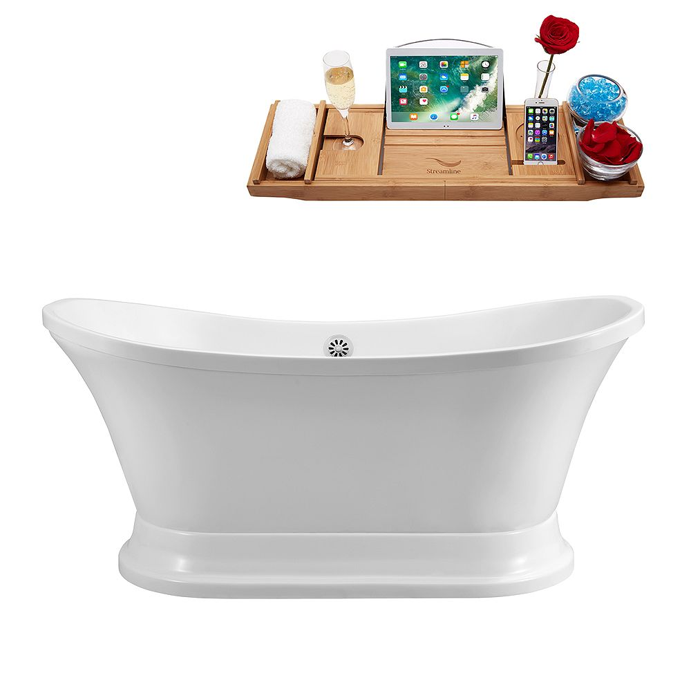 Streamline 68 inch Streamline N201WH Soaking Freestanding Tub and Tray With External Drain