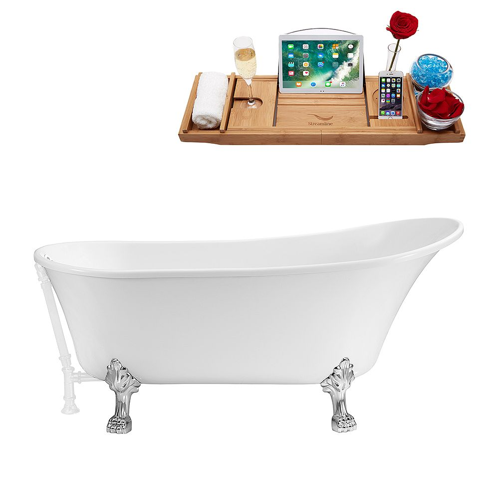 Streamline 67 inch Streamline N340CH-WH Soaking Clawfoot Tub and Tray With External Drain