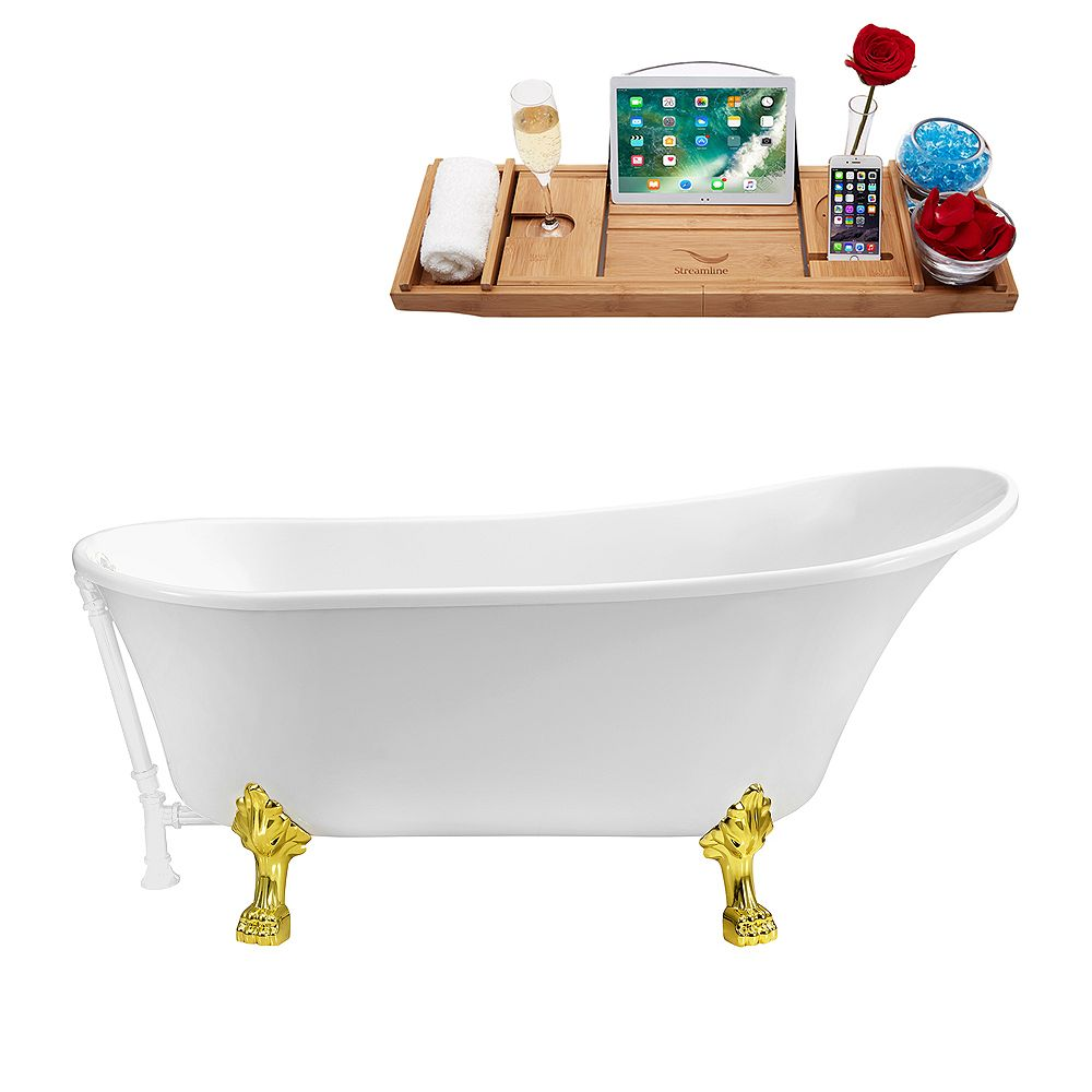 Streamline 67 inch Streamline N340GLD-WH Soaking Clawfoot Tub and Tray With External Drain