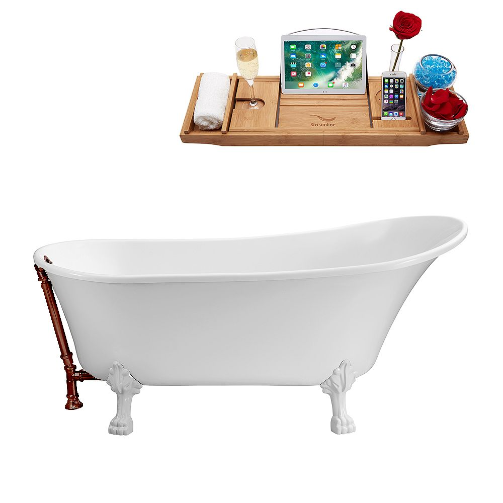 Streamline 67 inch Streamline N340WH-ORB Soaking Clawfoot Tub and Tray With External Drain