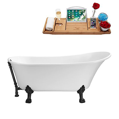 59 inch Streamline N341BL-BL Soaking Clawfoot Tub and Tray With External Drain