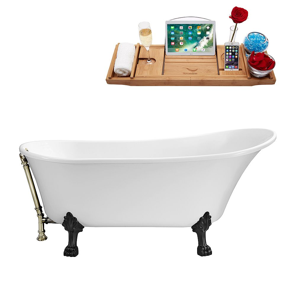 Streamline 59 inch Streamline N341BL-BNK Soaking Clawfoot Tub and Tray With External Drain
