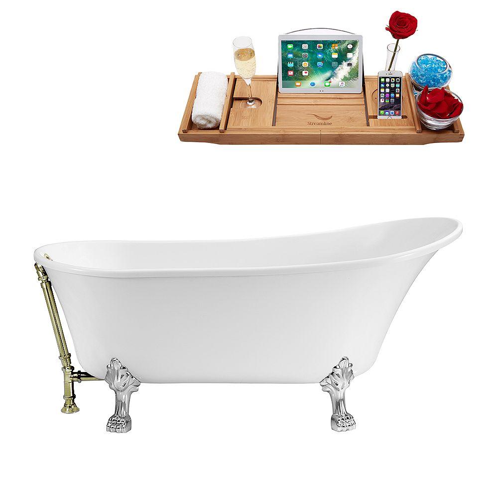 Streamline 59 inch Streamline N341CH-BNK Soaking Clawfoot Tub and Tray With External Drain