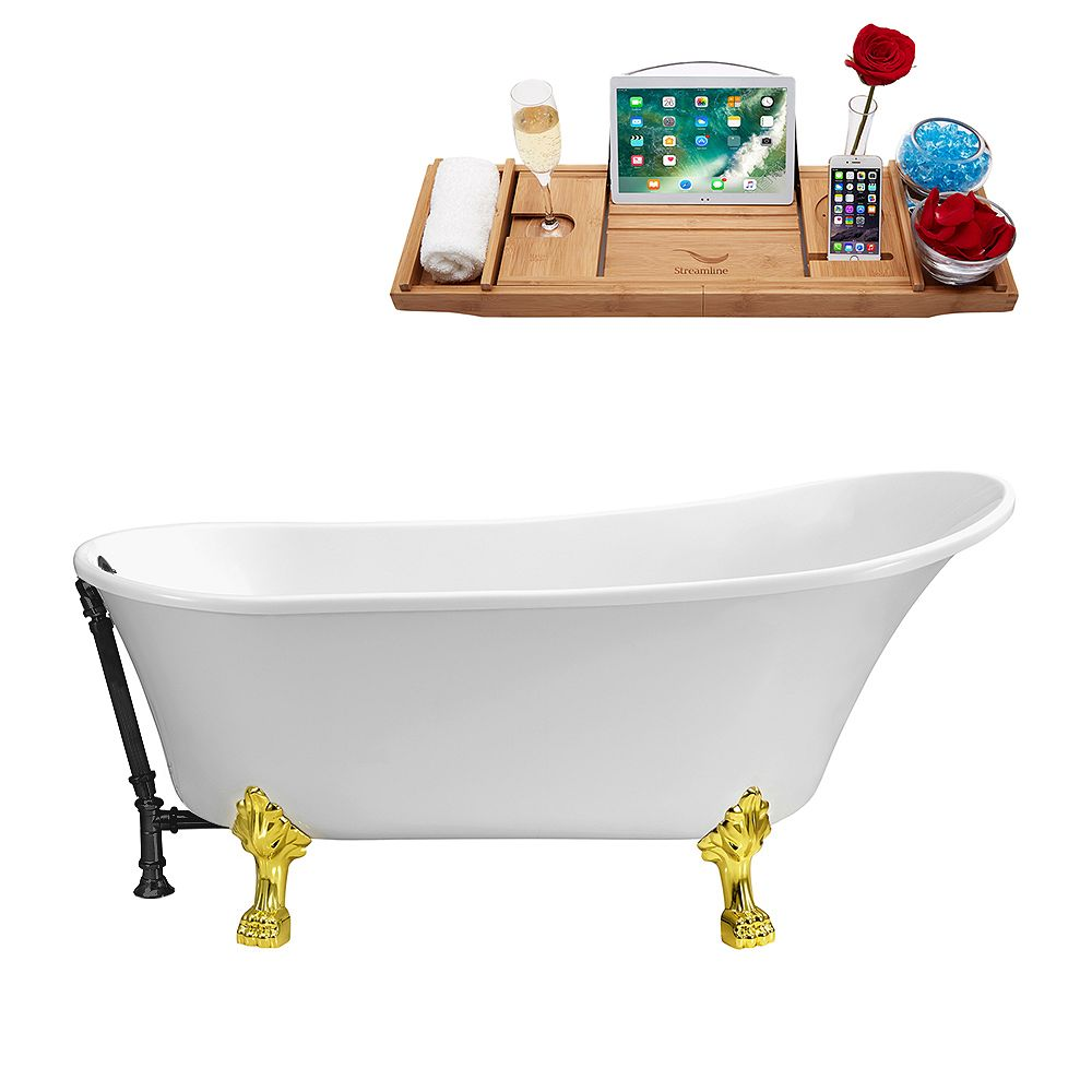 Streamline 59 inch Streamline N341GLD-BL Soaking Clawfoot Tub and Tray With External Drain