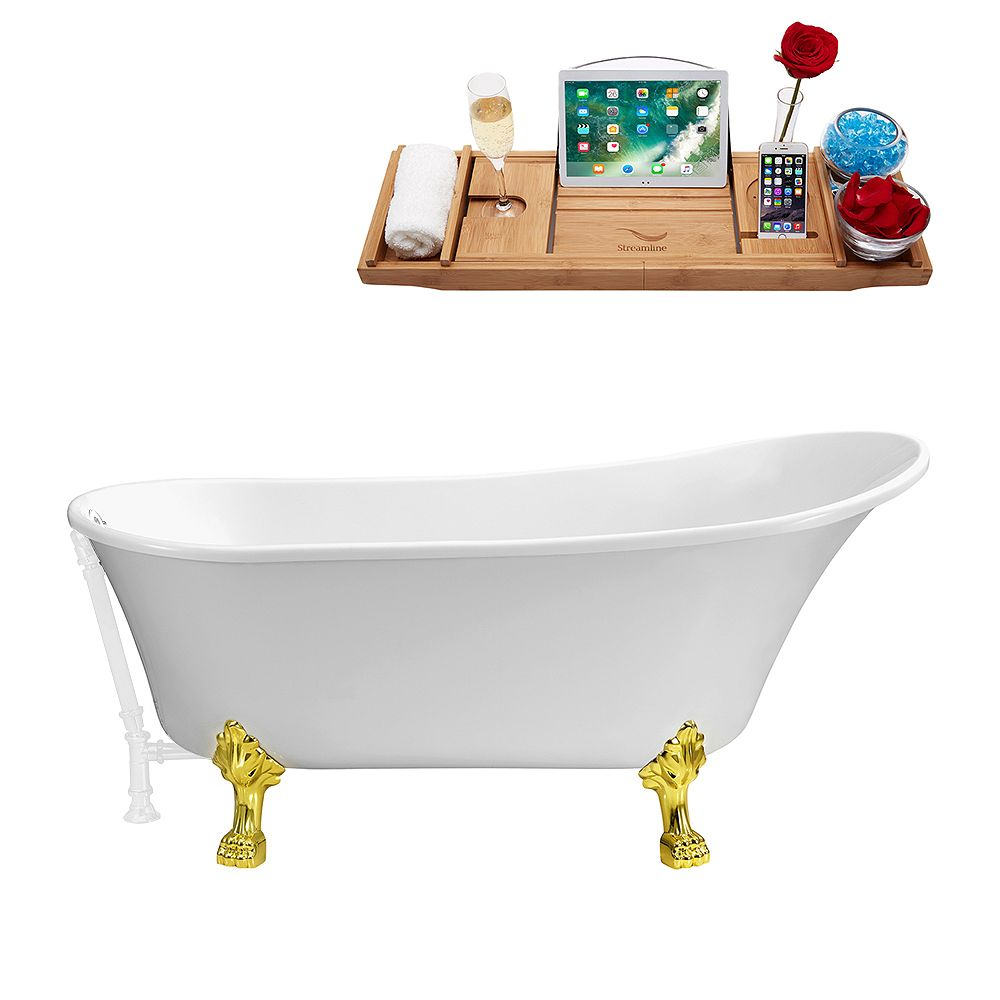 Streamline 59 inch Streamline N341GLD-WH Soaking Clawfoot Tub and Tray With External Drain