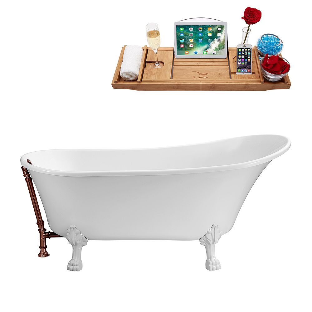 Streamline 63 inch Streamline N342WH-ORB Soaking Clawfoot Tub and Tray With External Drain