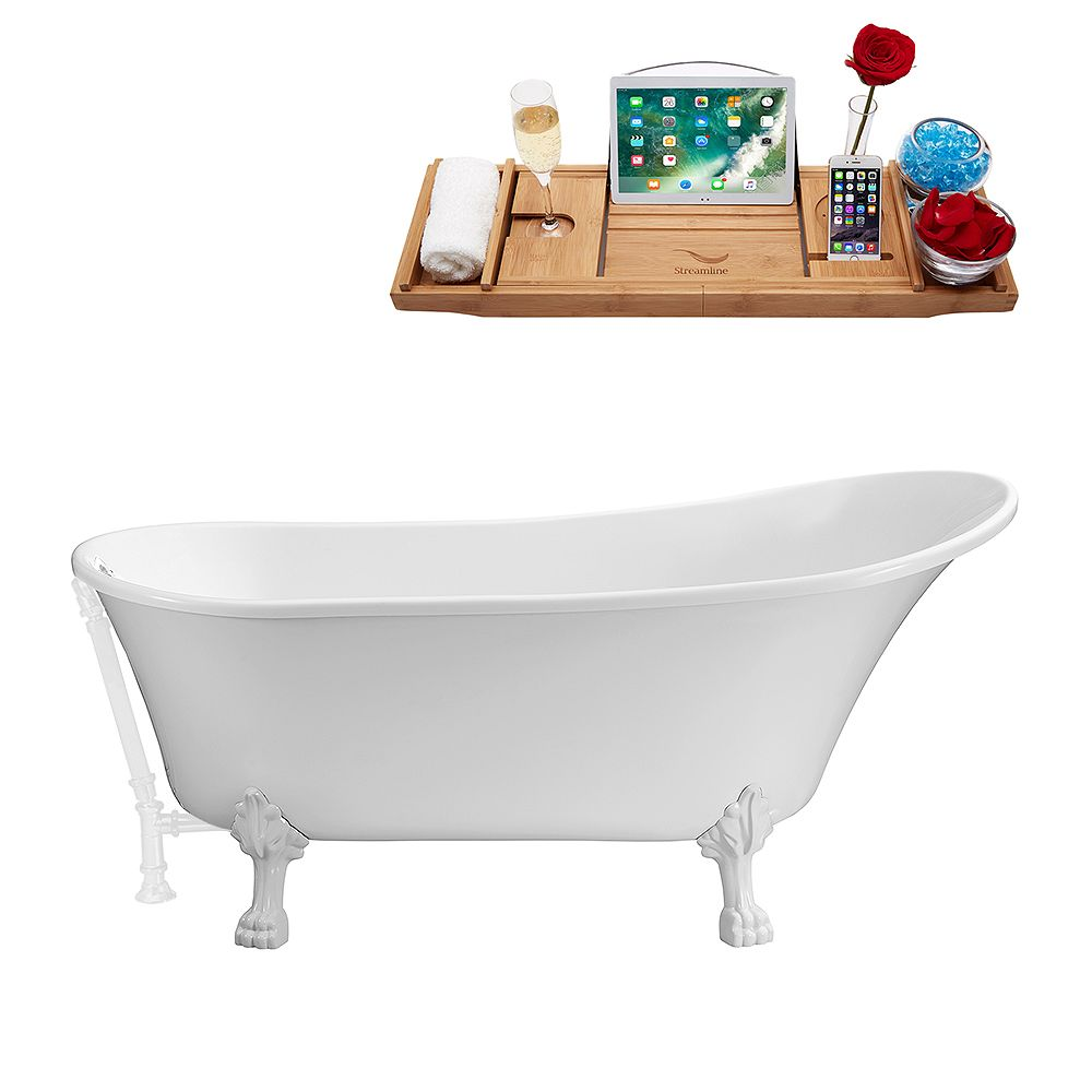 Streamline 63 inch Streamline N342WH-WH Soaking Clawfoot Tub and Tray With External Drain
