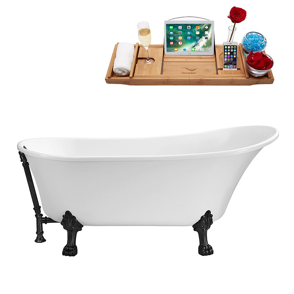 Streamline 55 inch Streamline N343BL-BL Clawfoot Tub and Tray With External Drain