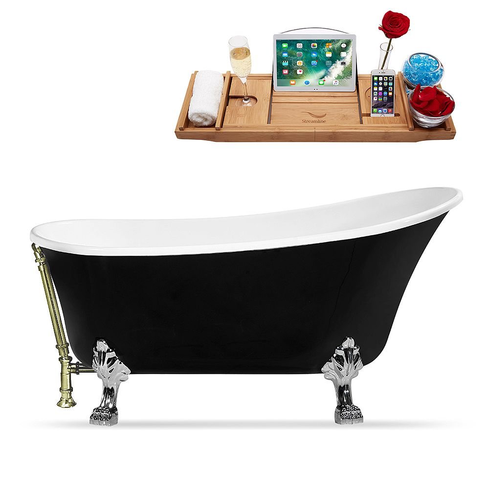 Streamline 59 inch Streamline N344CH-BNK Clawfoot Tub and Tray With External Drain