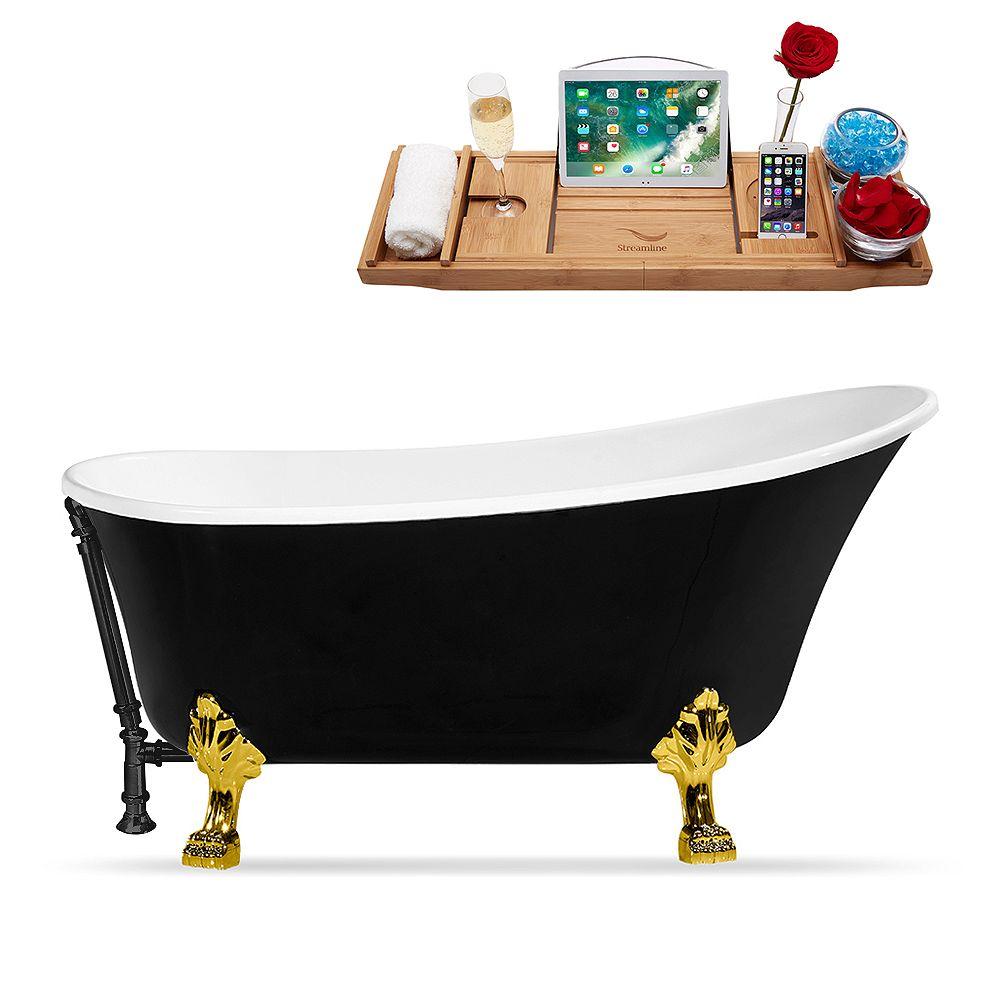 Streamline 59 inch Streamline N344GLD-BL Clawfoot Tub and Tray With External Drain