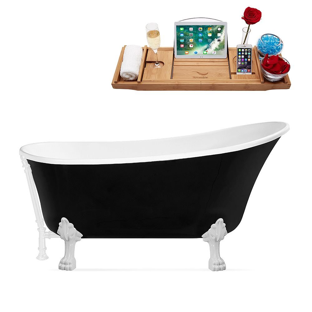 Streamline 59 inch Streamline N344WH-WH Clawfoot Tub and Tray With External Drain