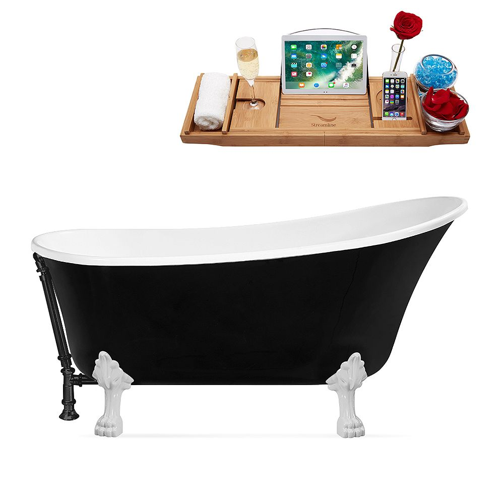 Streamline 67 inch Streamline N345WH-BL Clawfoot Tub and Tray With External Drain