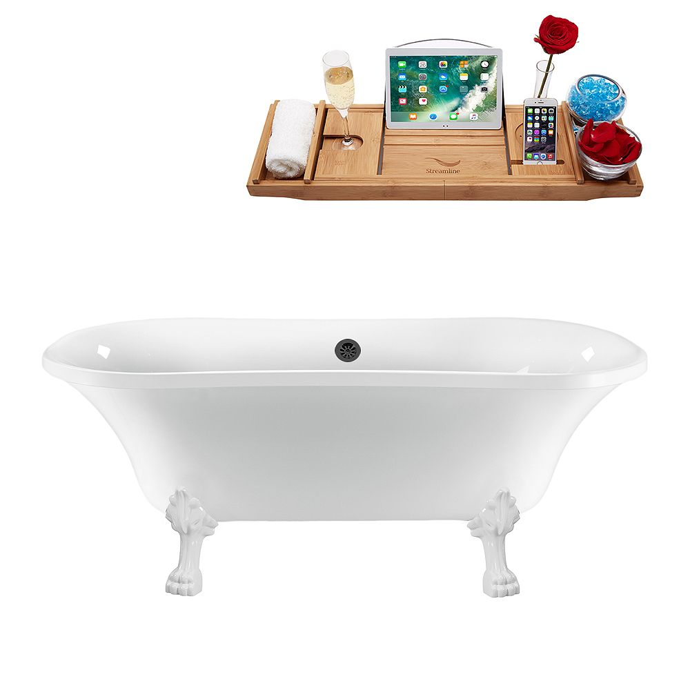 Streamline 68 inch Streamline N861WH-BL Clawfoot Tub and Tray With External Drain