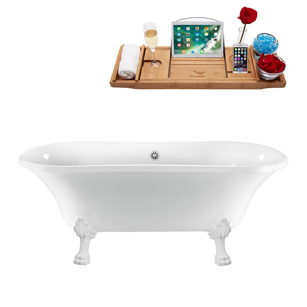 Streamline 68 inch Streamline N861WH-WH Clawfoot Tub and Tray With External Drain