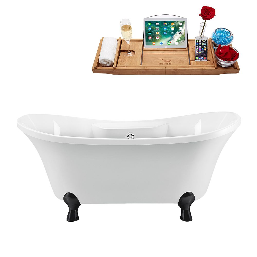 Streamline 60 inch Streamline N900BL-WH Clawfoot Tub and Tray With External Drain
