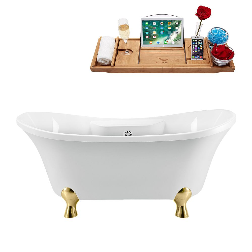 Streamline 60 inch Streamline N900GLD-WH Clawfoot Tub and Tray With External Drain