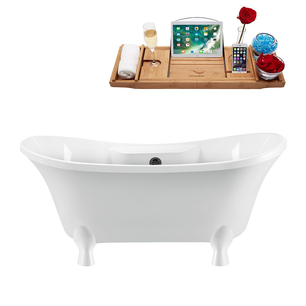 Streamline 60 inch Streamline N900WH-BL Clawfoot Tub and Tray With External Drain