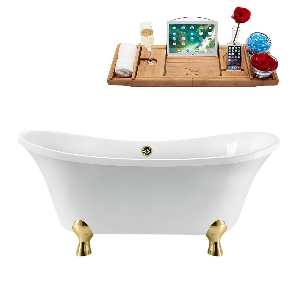 Streamline 60 inch Streamline N920GLD-BNK Clawfoot Tub and Tray With External Drain