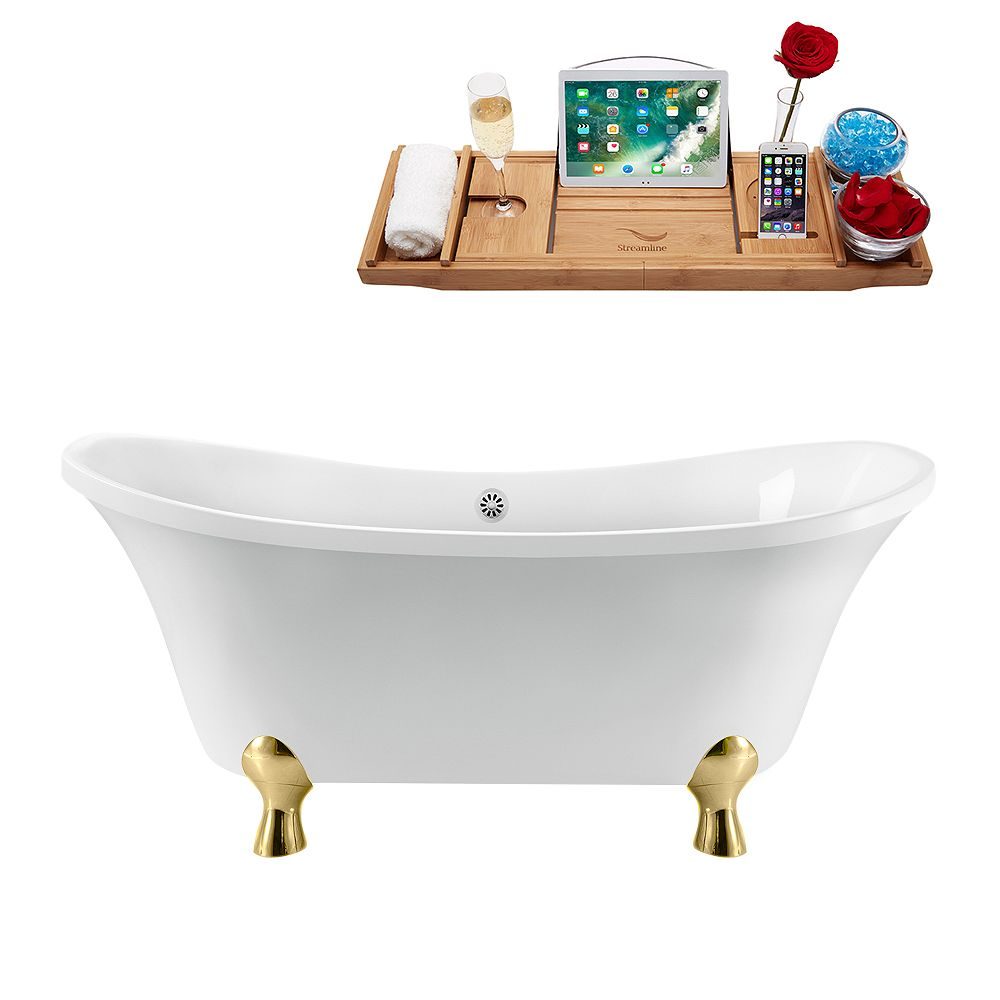 Streamline 60 inch Streamline N920GLD-WH Clawfoot Tub and Tray With External Drain