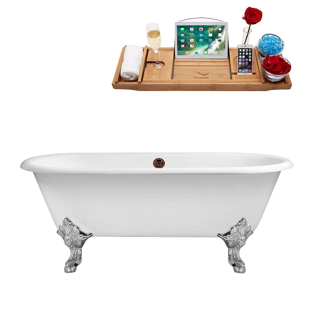 Streamline 69 inch Cast Iron R5001CH-ORB Soaking Clawfoot Tub and Tray with External Drain