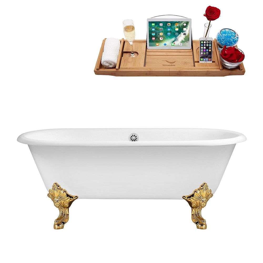 Streamline 69 inch Cast Iron R5001GLD-WH Soaking Clawfoot Tub and Tray with External Drain