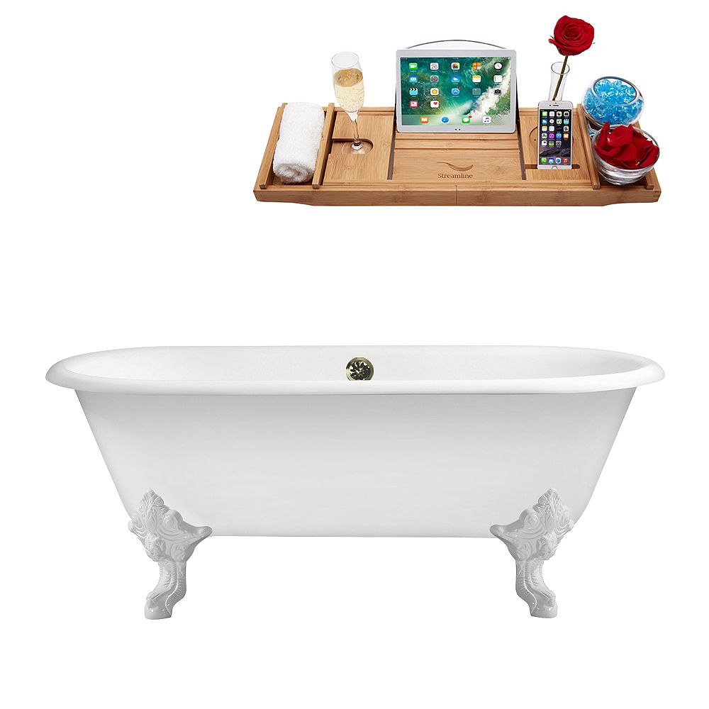 Streamline 69 inch Cast Iron R5001WH-BNK Soaking Clawfoot Tub and Tray with External Drain