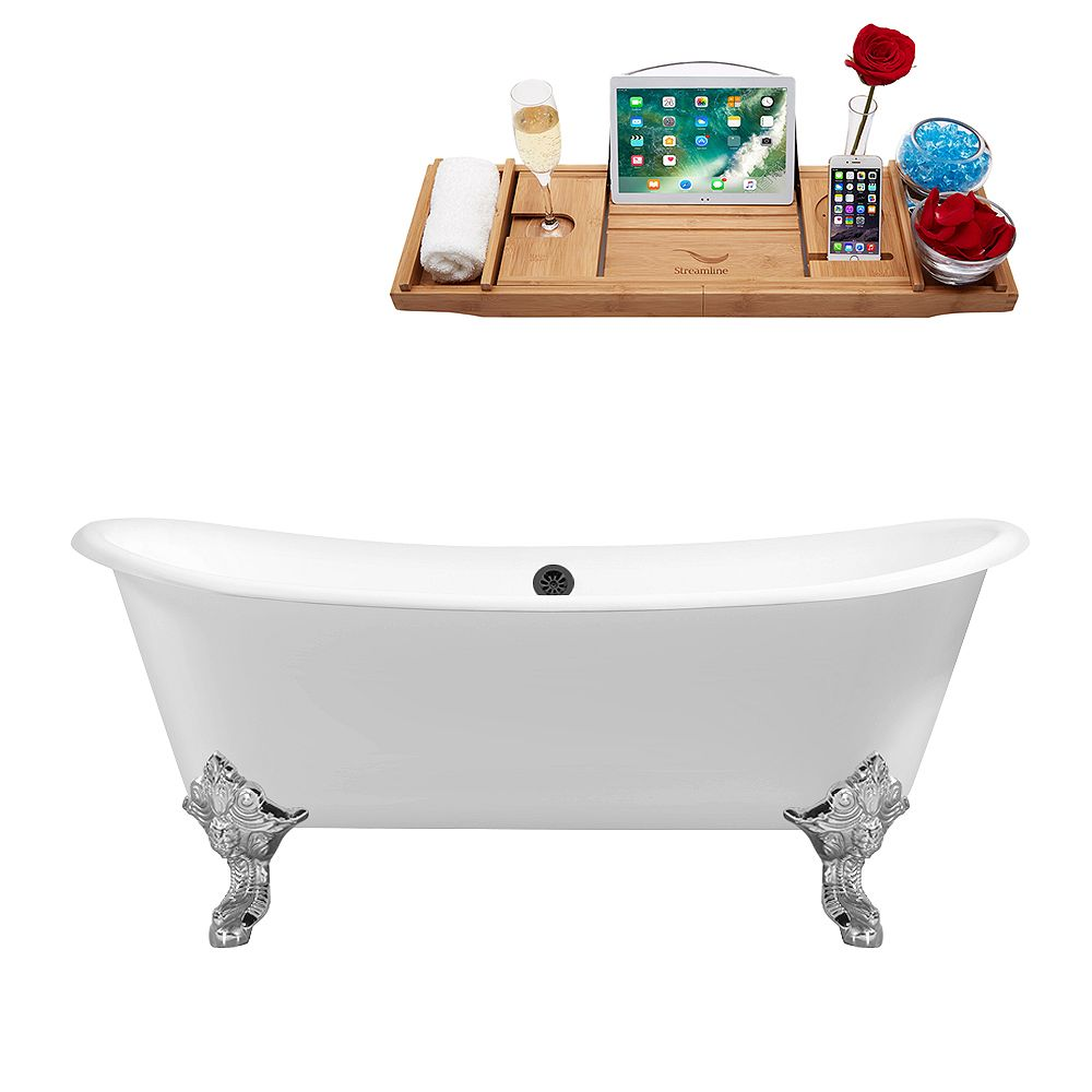 Streamline 72 inch Cast Iron R5020CH-BL Soaking Clawfoot Tub and Tray with External Drain