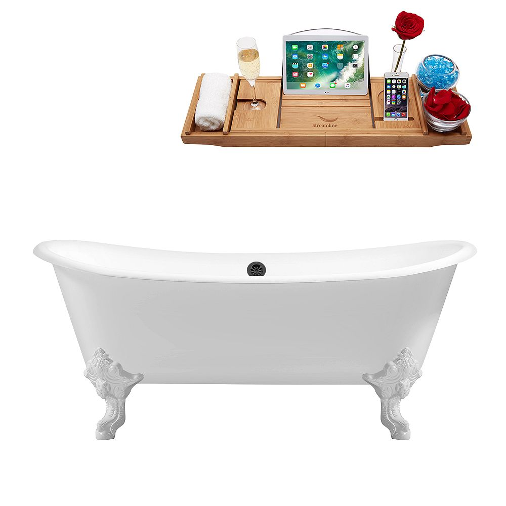 Streamline 72 inch Cast Iron R5020WH-BL Soaking Clawfoot Tub and Tray with External Drain