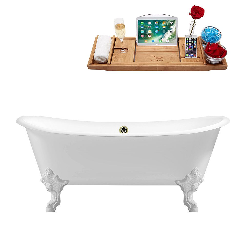 Streamline 72 inch Cast Iron R5020WH-BNK Soaking Clawfoot Tub and Tray with External Drain