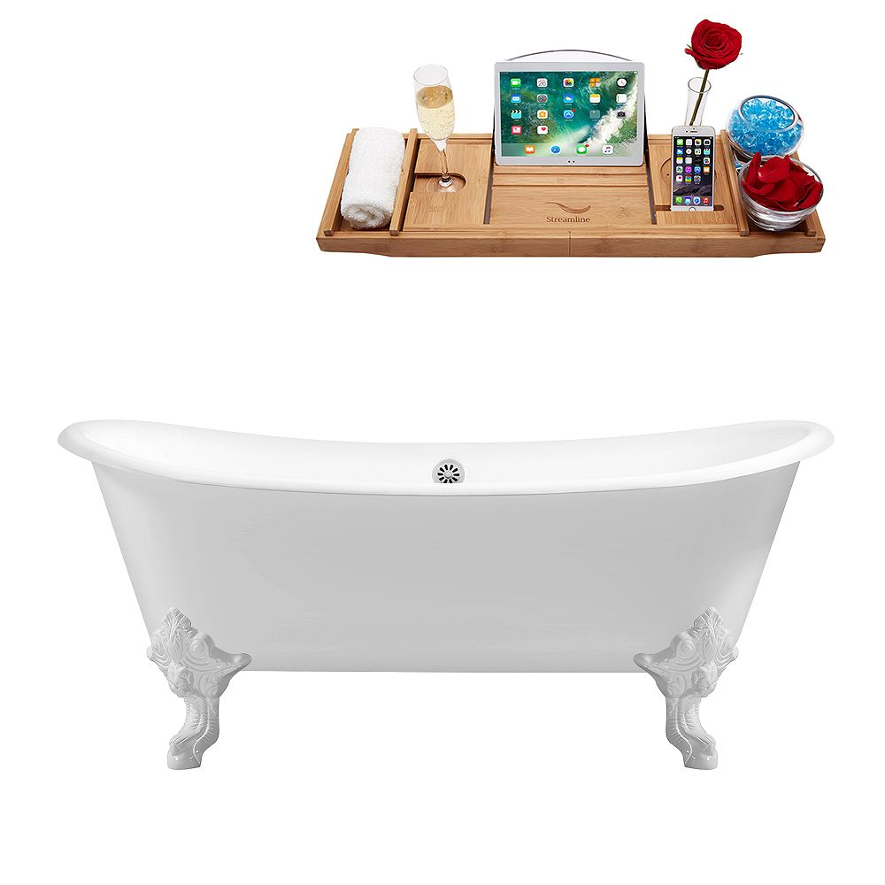 Streamline 72 inch Cast Iron R5020WH-WH Soaking Clawfoot Tub and Tray with External Drain