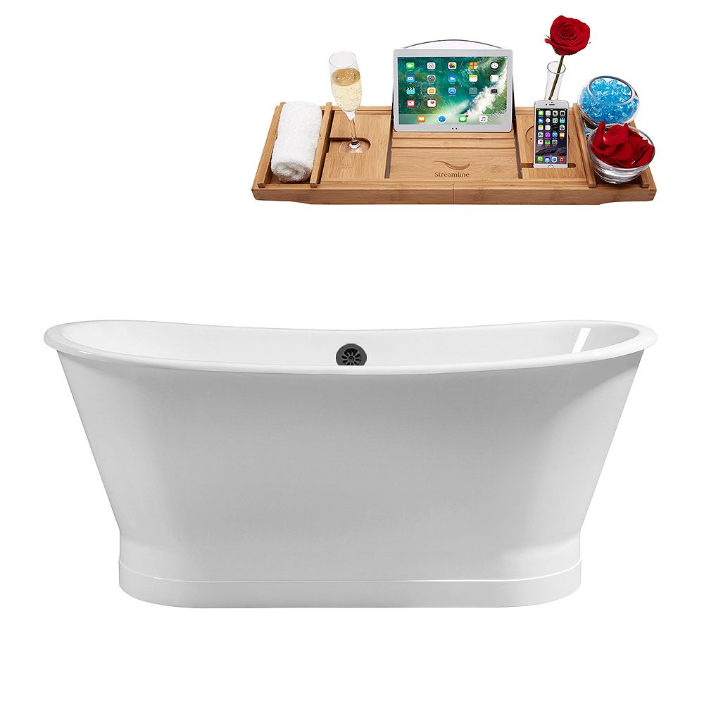 Streamline 67 inch Cast Iron R5042BL Soaking Freestanding Tub and Tray with External Drain