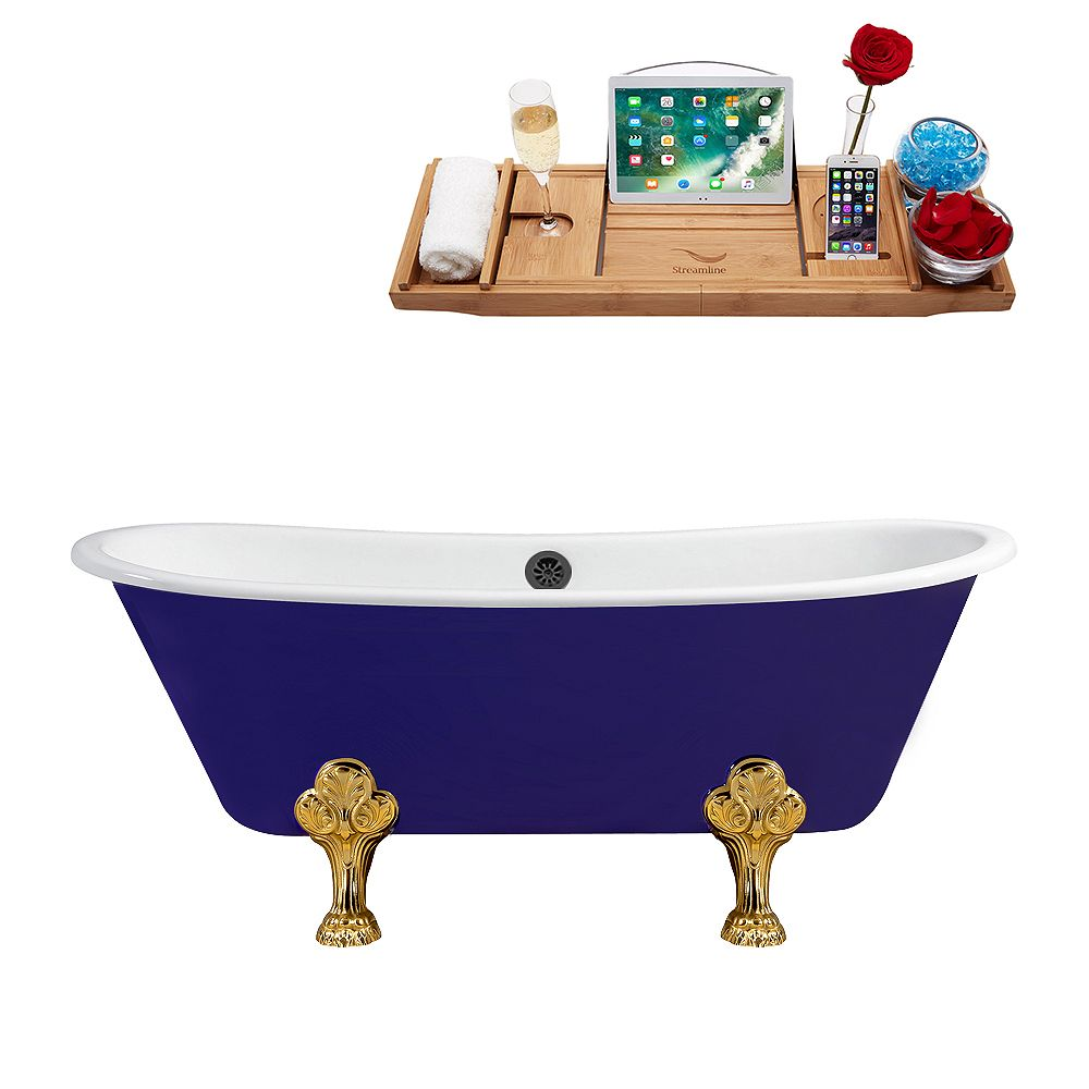 Streamline 67 inch Cast Iron R5060GLD-BL Soaking Clawfoot Tub and Tray with External Drain