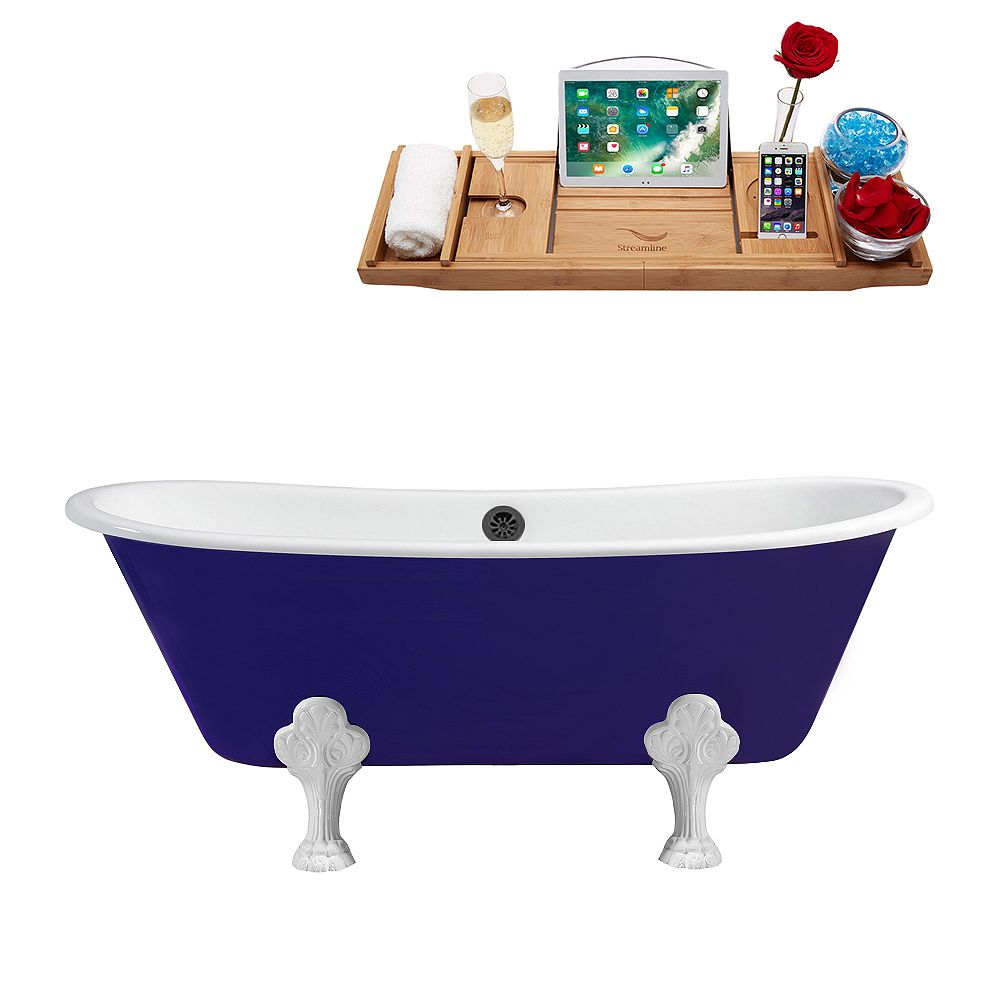 Streamline 67 inch Cast Iron R5060WH-BL Soaking Clawfoot Tub and Tray with External Drain