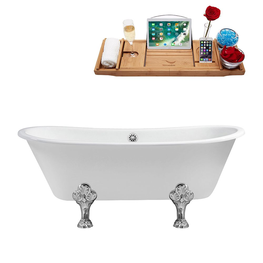 Streamline 67 inch Cast Iron R5061CH-WH Soaking Clawfoot Tub and Tray with External Drain